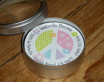 Calling Cards in Tin - Set of 45 Round cards - PEACE FLOWERS