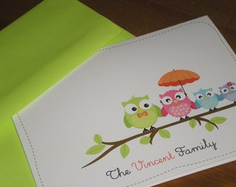 Owl Family Note Cards - Set of 12 Customized folded cards