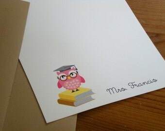 Teacher appreciation : personalized note cards - Set of 12