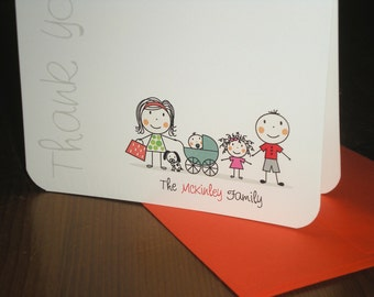 Family note cards : Set of 12 customized folded cards - Stick figure graphics