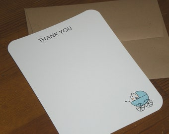 Blue Baby Carriage : baby shower thank you notes - Set of 12