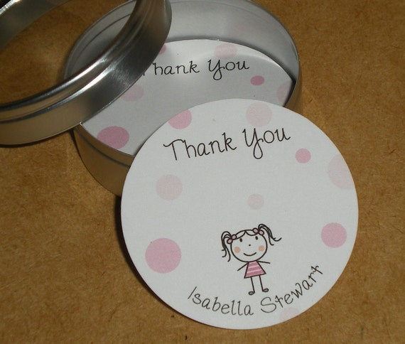PERSONALIZED Little Round Cards with Tin - set of 50 - NABILA
