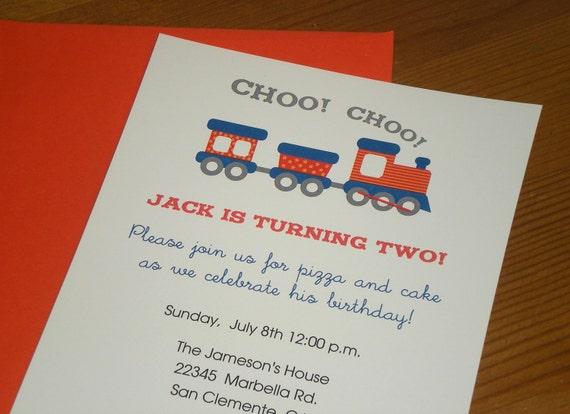 Choo Choo Train : Birthday Invitations - boy - Set of 12