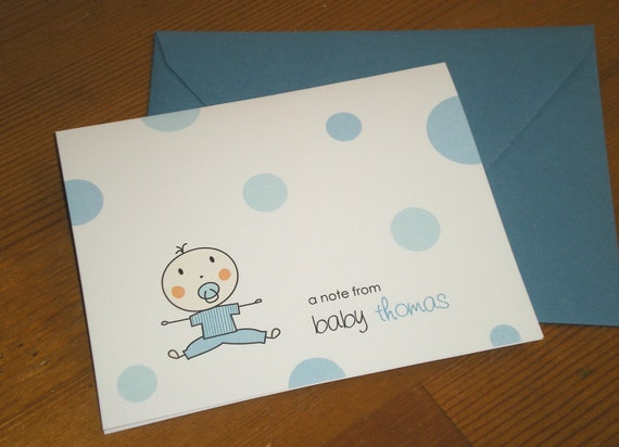 Baby boy Note Cards Thank you cards with coordinating envelopes - Set of 12