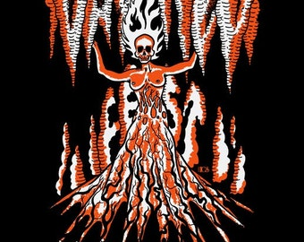 DAY of HEL Poster- Portland, OR - skull, woman, naked, fire, norse, goddess, metal, underworld, fest, print, art, screen print, silk screen