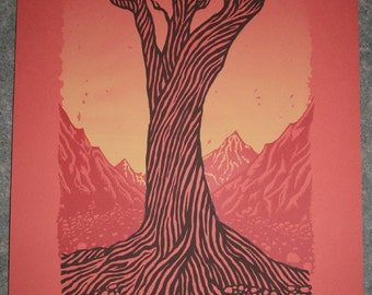 Tree illustration screen print poster - print, art, silk screen, tree, mountains, skulls, skeleton, orange, yellow, red