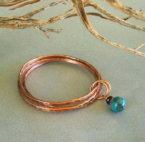 Copper Bangles Turquoise Bracelet Handmade Jewelry
