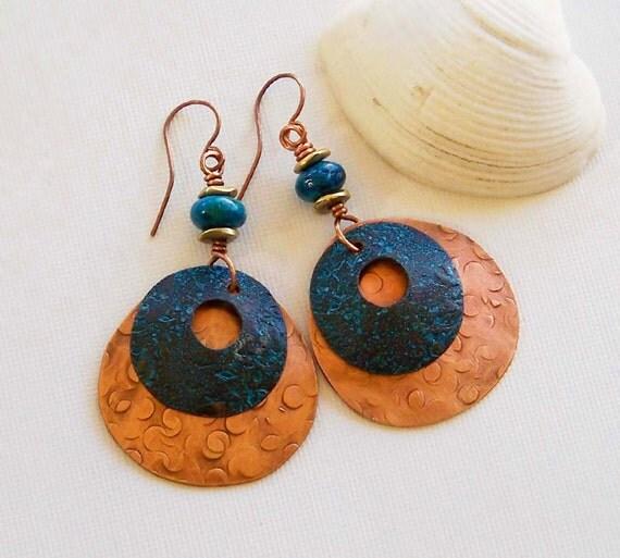 Natural Jewelry Blue Earrings Handmade Copper Earrings