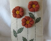 Primitive Orange  Daisy Flowers Pillow Handmade Home Decor
