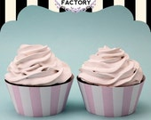 Printable Pale Pink and White Stripe Cupcake Wrappers