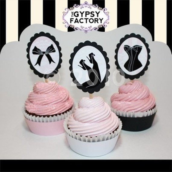 Frenchie - Lingerie Inspired- Birthday and Bachelorette Party Cupcake Toppers - Printable