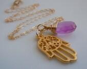 Hamsa Necklace with Purple Chalcedony : Yoga Jewelry