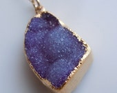 Druzy Necklace in Plum Purple