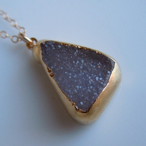Triangle Druzy Necklace with Hint of Lilac in Gold