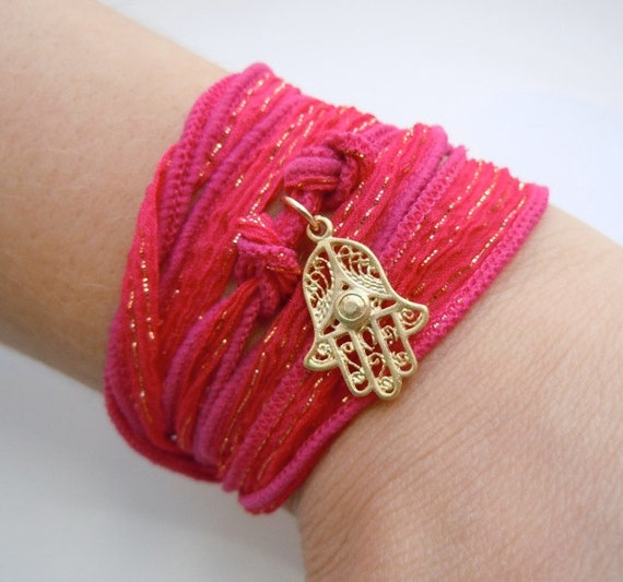 Red Bracelet with Gold Hamsa and Silk Ribbon and a Touch of Sparkly Pink