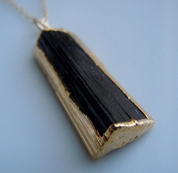 Black Tourmaline Necklace with Gold -A BEST SELLER, similar featured in Etsy Newsletter