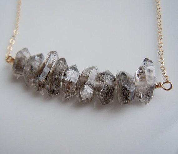 Herkimer Diamond Necklace with Pakistan Herkimer