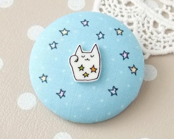 Lucky cat macaron brooch - stars