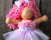 waldorf TUTU and romper bow set for 10 12 15 18 inch doll pink