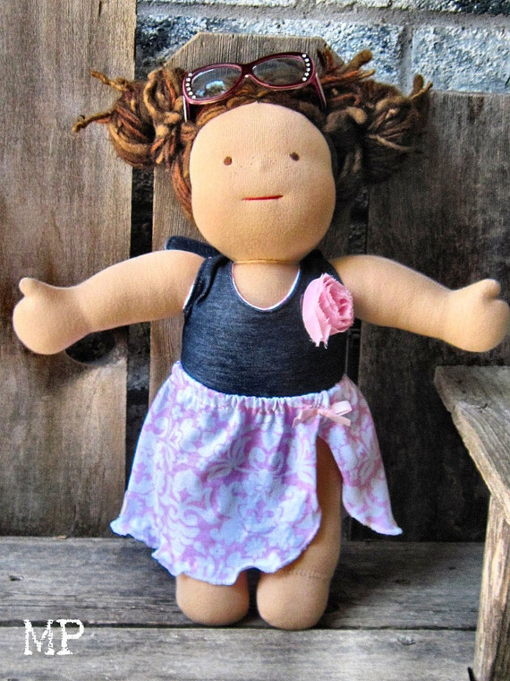 RTG waldorf Swimsuit and coverup halter romper for  15 inch doll