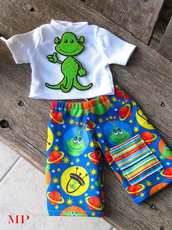 LAST ONE waldorf  ALIEN lounge set with pocket for boy doll Green 12 15 16