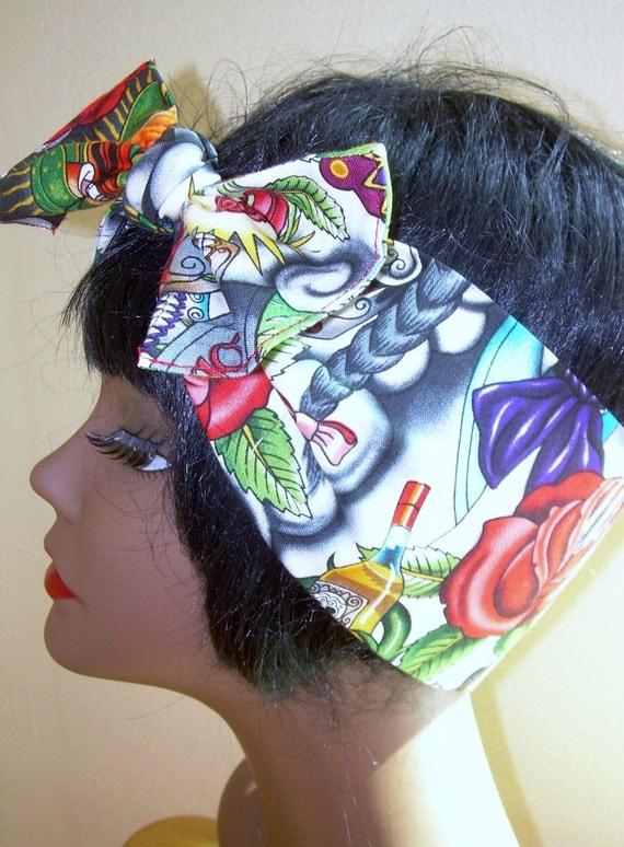 womens Rockabilly Headband, Tattoo Fabric, Azteca Mexican, 40s pin up