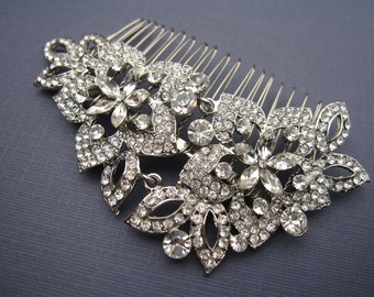 Vintage inspired Silver Bridal hair comb,Wedding hair accessories,Bridal hair piece,Crystal hair comb,Rhinestone hair piece,Bridal comb,clip