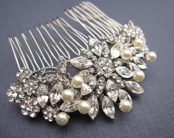 Vintage Inspired Pearls bridal hair comb,wedding hair comb,wedding hair accessories,pearl bridal comb,crystal wedding comb,bridal headpieces