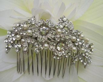 Pearl Wedding hair comb,bridal hair accessories, pearl bridal hair comb,wedding headpieces,crystal bridal comb,rhinestone wedding comb
