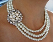 Bridal Necklace, Wedding Necklace , pearl necklace  Pearly Necklace  wedding pearl  Necklace Ivory Swarovski Pearls  Necklace bridal jewelry