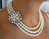 BRIDAL SET -  (2 Items )- Laura -  Ivory Swarovski Pearls and rhinestone Necklace and Bracelet -  Made to Order