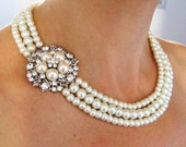 Pearl Bridal Necklace,Pearly Necklace,wedding Necklace-Ivory Swarovski Pearls and rhinestone Necklace,wedding jewelry,pearl bridal jewelry