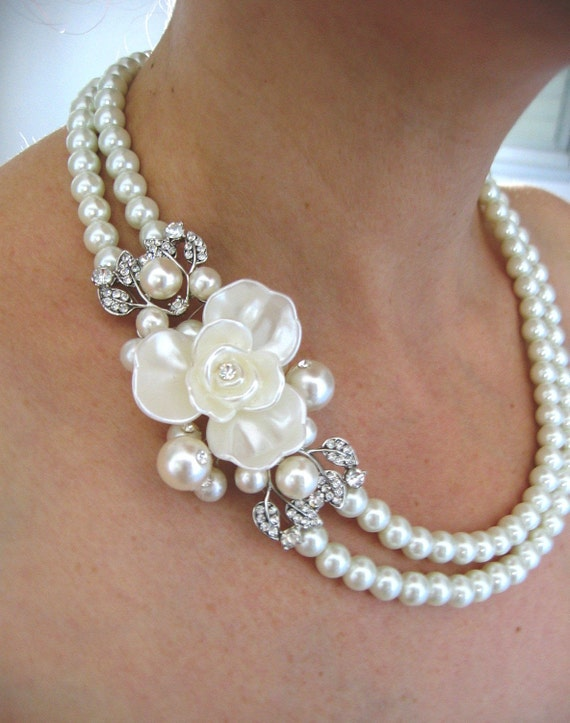 Wedding Necklace, Pearls and crystal Bridal Necklace, Vintage Wedding Necklace, Bridal Jewelry Pearls, Wedding Pearl Necklace