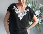 Black embroidered V Sheath