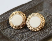 Classic vintage inspired gold and cream stud earrings