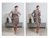 Lightweight, elegant cardigan and matching slip dress set in two versions nude color