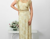 Amazing wedding lace dress- Gold and white
