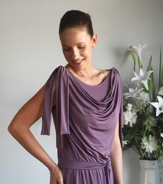Mauve Taupe light sleeveless cowl dress with a matching belt and shoulder ribbons