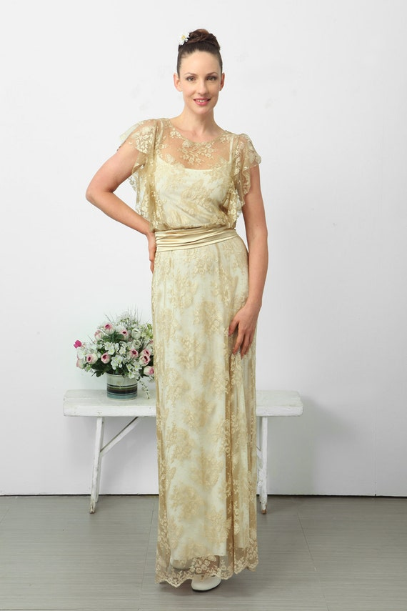 Items similar to amazing wedding lace dress gold and for Wedding dress on etsy