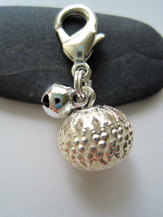 Silver Chinese Lantern Bell Dog Collar Charm - For Extra Small thru Small Dogs
