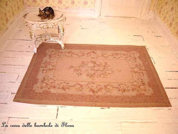 Antique Aubusson rug - 1/12 dolls house dollhouse miniature