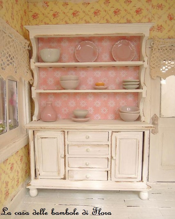 Shabby large kitchen dresser - 1/12 dolls house dollhouse miniature