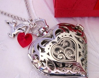 HEART POCKET WATCH Necklace Key To My Heart Victorian Silver Filigree Red Heart Key
