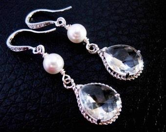 Bridal Earrings Pearl Cubic Zirconia Wedding Jewelry Sterling Silver Bridesmaid Gifts Wedding Jewellery