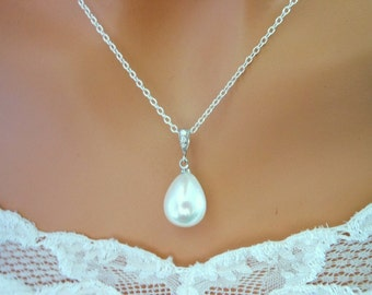 Pearl Necklace BRIDAL Wedding Jewelry CZ Cubic Zirconia White/Ivory Pearl Bridesmaid Gifts