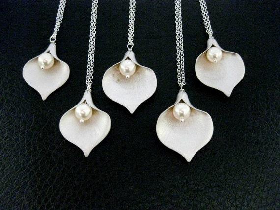 Items Similar To CALLA LILY Necklaces Bridesmaid 5 Necklaces PEARL Sterling Silver Bridesmaid
