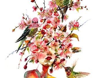 Fashion Illustration Art Print - Sakura 10x12