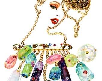 "Watercolour Fashion Illustration 10""x12"" print - Charmaine"