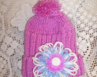 Handmade in Australia Knitted Girl's Flower Beanie Pink Flower