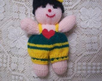 Handmade in Australia Love Heart Knitted Doll Toy